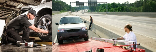 Tire chage and car towing