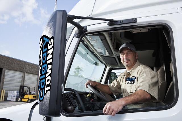 truck-driver in a car
